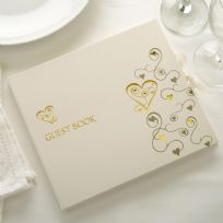 Contemporary Heart Guest Book - Ivory & Gold